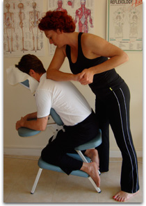 Acupressure and seated chair massage
